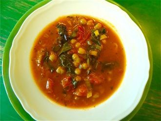 chickpea and tomato soup with garlic-rubbed bread and beet greens: I ...