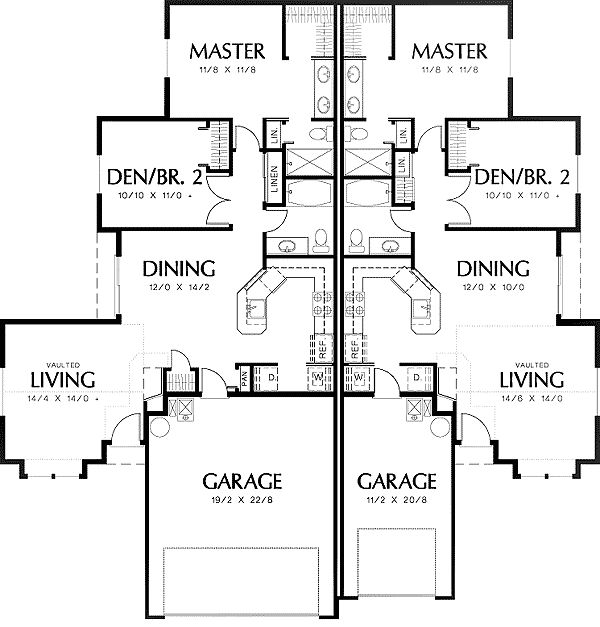 Duplex floor plan Duplex floor plans with double garage