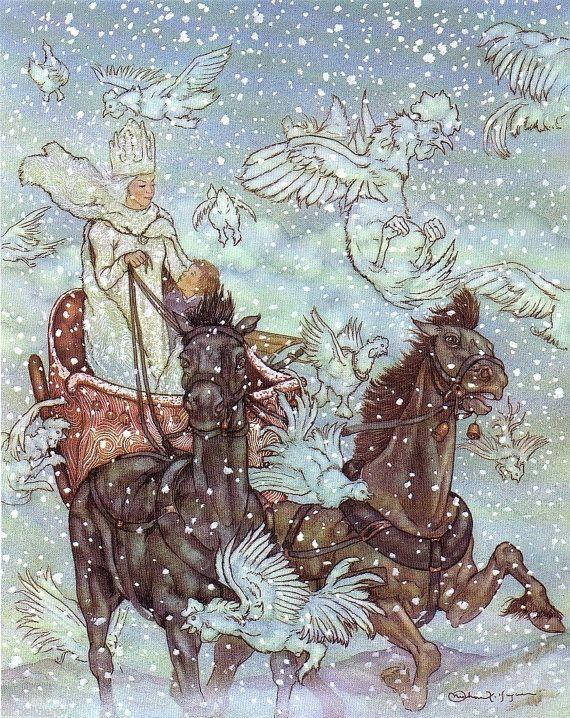 art print illustration hans christian andersen snow queen