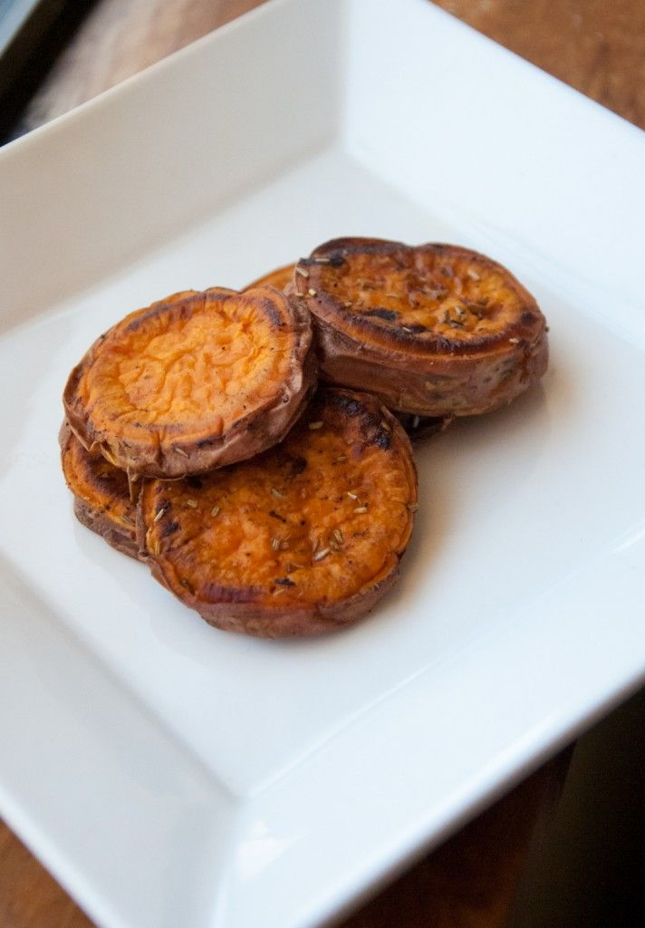 Sweet potato rounds - slice and brown each side, the bake 15 min in ...