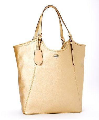 Gold & Silver Peyton Leather Tote by Coach #zulily #zulilyfinds