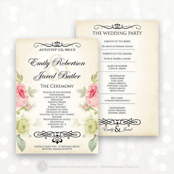 Printable Wedding Programs EDITABLE Template
