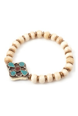 Vanessa Mooney Ramro Pendant Bracelet in White Bone