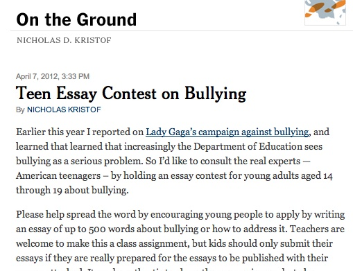 essay about bullying yahoo