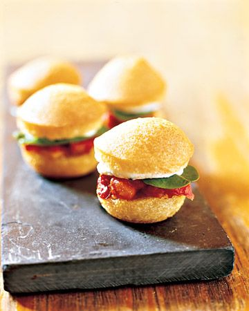 Miniature tomato and basil sandwiches
