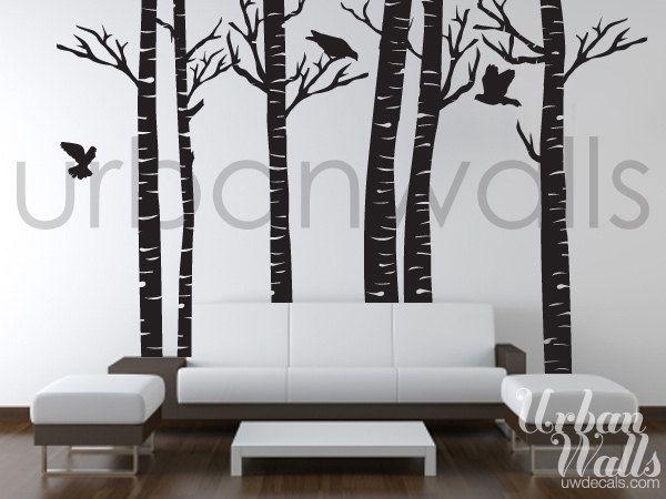Vinyl Wall Sticker Decal Art Birch Trees