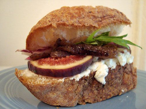Fig, Goat Cheese and Caramelized Onion Sandwich. Wish I made it to my ...