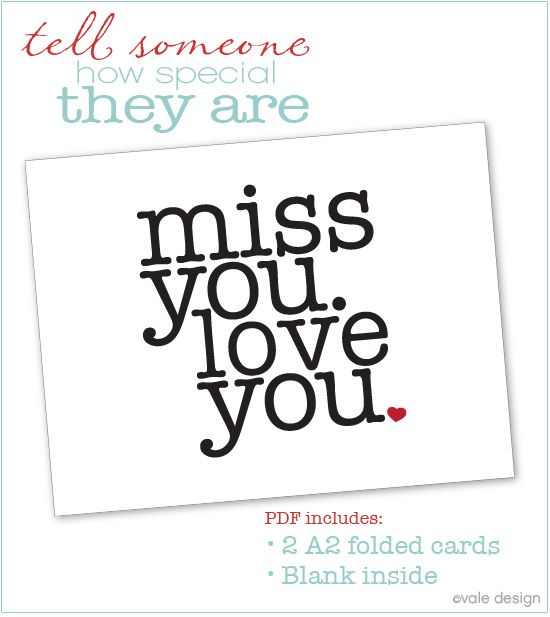 Effortless image with free printable miss you cards