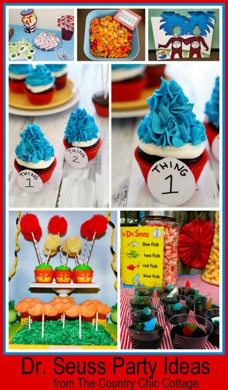 Dr suess party idea... Even though we've done the suess party..  Still love looking :)