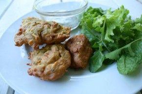 chickpea fritters aka pakora with curry mint yogurt sauce