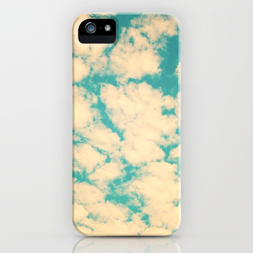 Clouds and Sky (Retro and vintage blue - turquoise sky and clouds) iPhone Case
