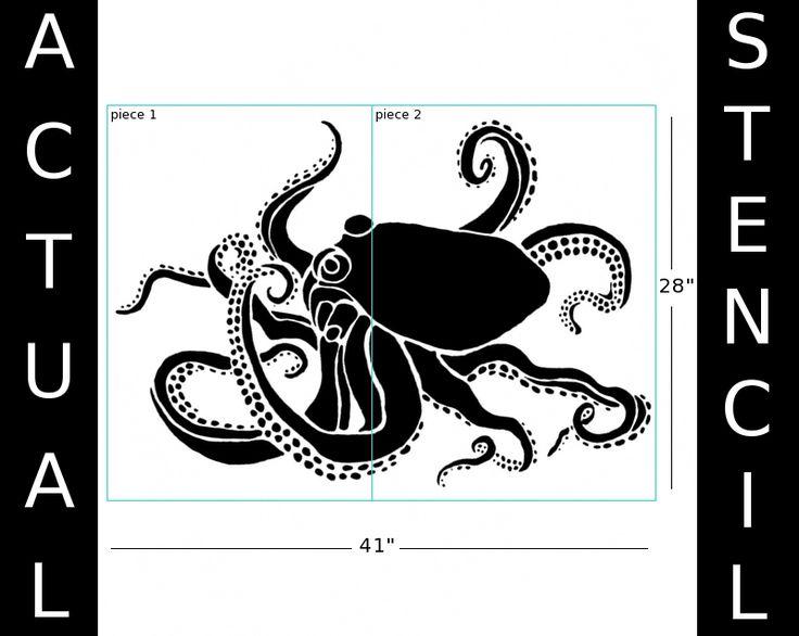 Large octopus stencil stencils pinterest