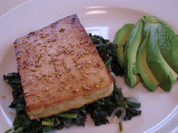 Fred's Lemon and Ginger Kale and Sesame Tofu Steak