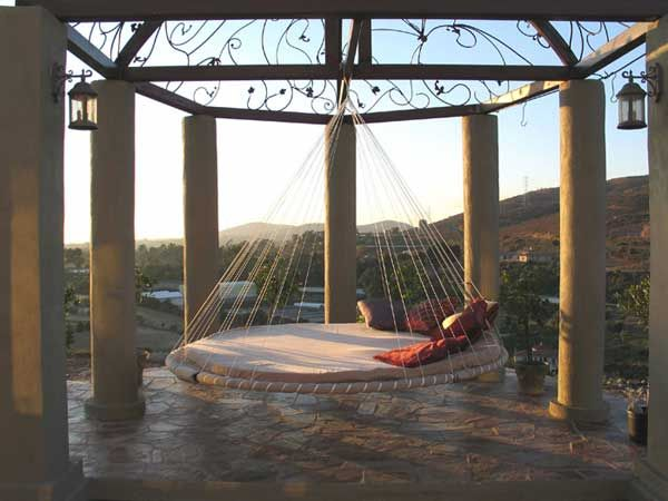 Sleeping on cloud 9 in this gazebo floating bed.