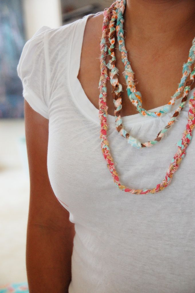 Make a braided necklace out of fabric scraps