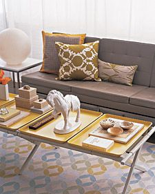 I think I am going to try this, we have two of these that we only use maybe 6 times a year, why not have it be a coffee table the rest of the time?    http://poppytalk.blogspot.com/search/label/budget%20living