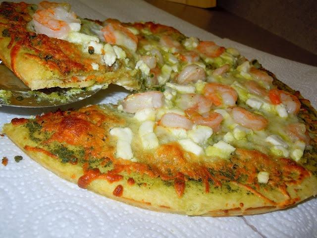 Shrimp & Goat Cheese Pesto Pizza. So easy & so good!