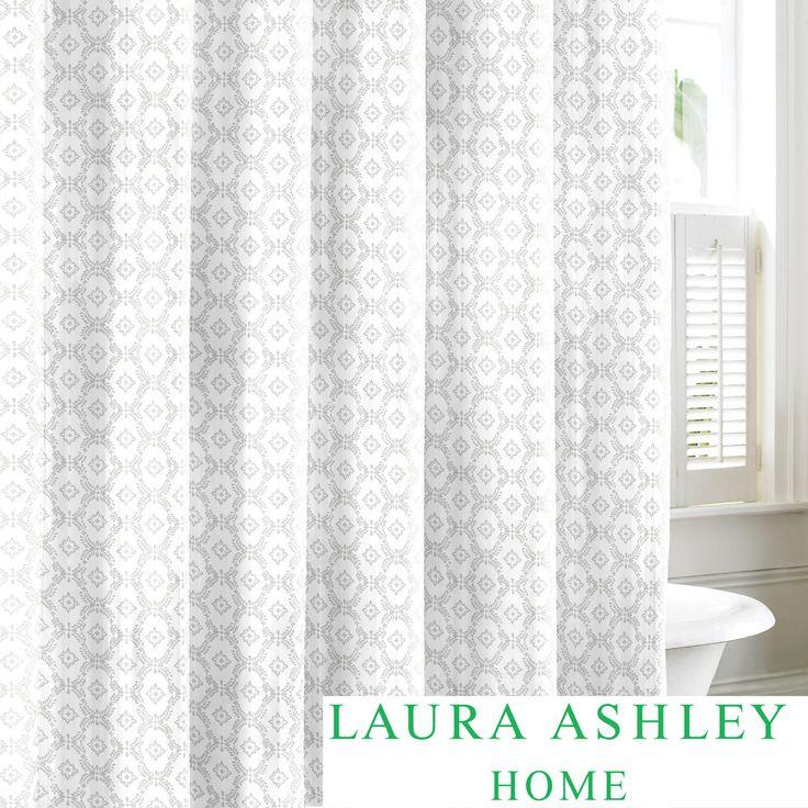 Laura Ashley Venetia Grey Cotton Shower Curtain | Overstock.com