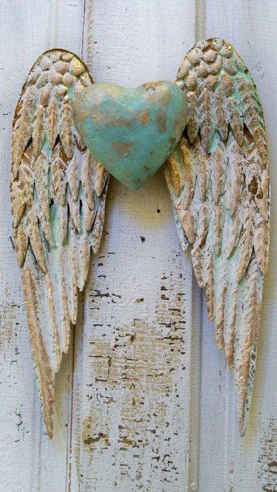 angel wings wall decor with heart white and gold shabby