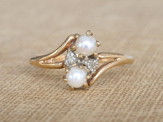 Antique Pearl & Diamond Ring Antique Victorian Engagement Ring Vint…