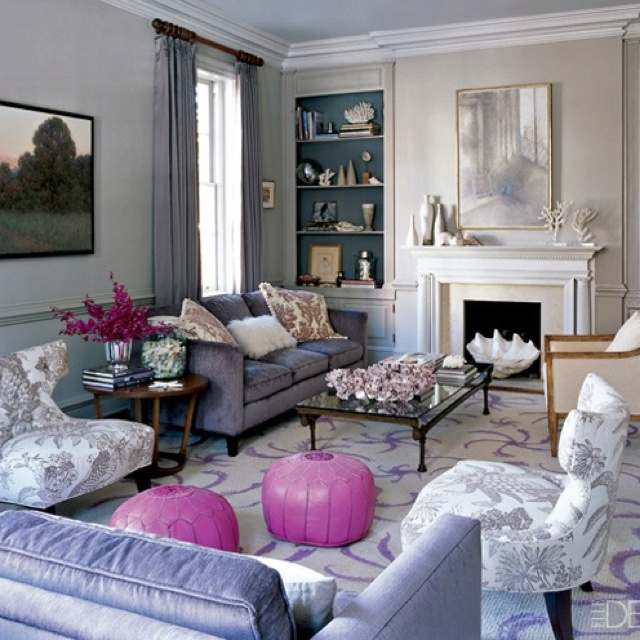 Grey lavender white living room sala de estar 1 pinterest