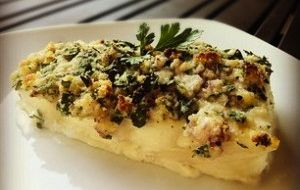 Herb & Almond-Crusted Halibut (Paleo, GF/DF) I would use about half of ...