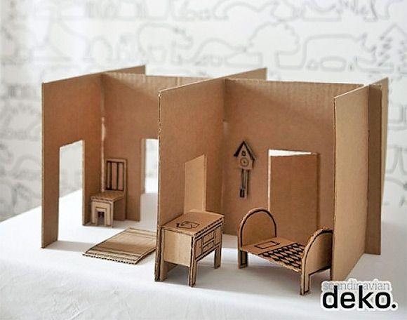 Мебель в кукольный домик своими руками из картона 77