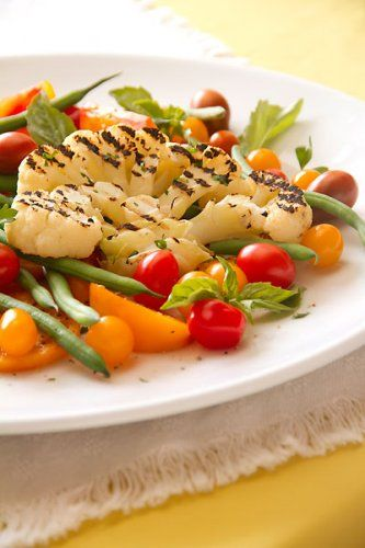 See My Grilled Cauliflower Steak with Green Bean & Tomato Salad