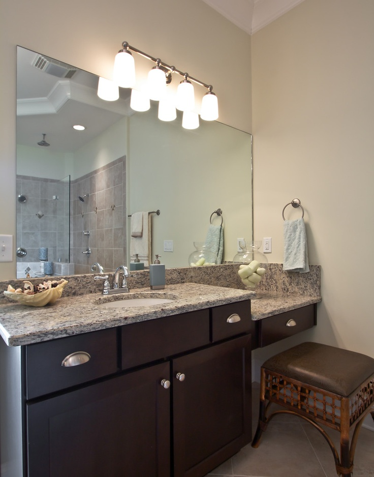 Awesome Or Knee Space Maple Wallmounted Cabinets Appear To Float On A Sea Of Blue Glass Tile By Sarah Barnard Design Photo Via Houzz Just Like The Pale Blue Bathroom Shown Here, Floating Vanities Help To Create An Ethereal Spalike