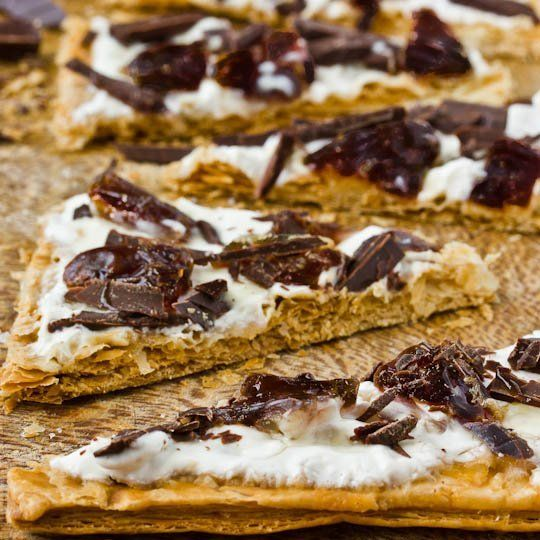 Recipe: Dessert Flammekueche Tart with Dried Plums, Dark Chocolate ...