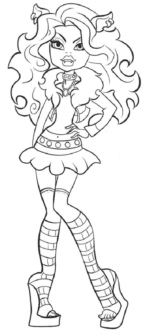 Cute Clawdeen Wolf Coloring Page Coloring Pages Pinterest Clawdeen Wolf Coloring Pages