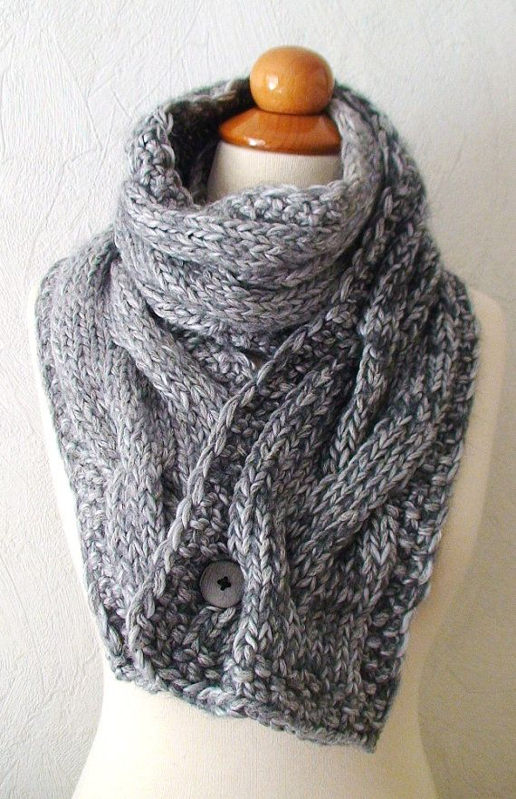 Chunky Scarf Grey Big Winter Knit Cowl Extra Thick Cabled and Warm