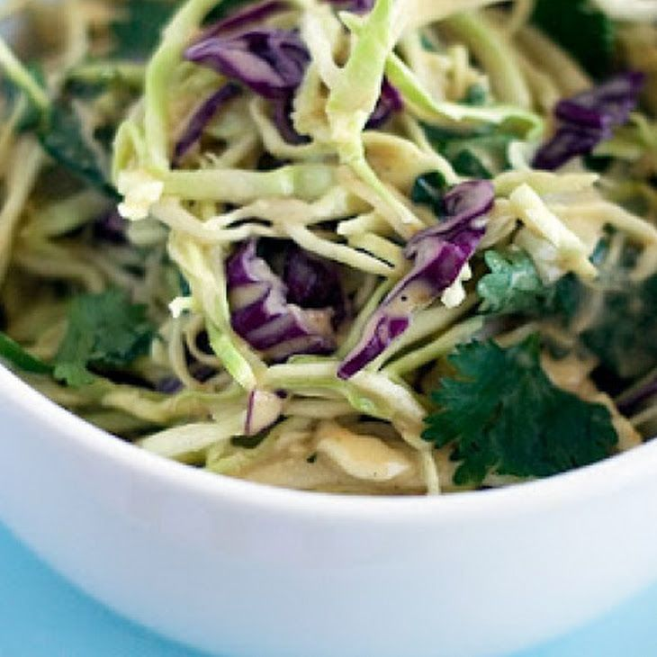 Asian Style Coleslaw Recipe with Peanut Butter Dressing Recipe