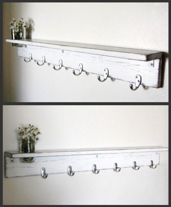 white shelf wall organizer coat hanger 36 inch rustic shelf. Black Bedroom Furniture Sets. Home Design Ideas