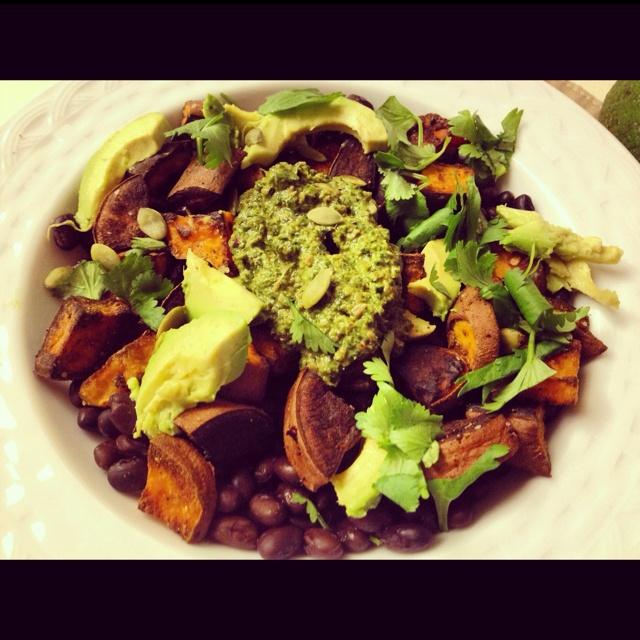 Sweet potato black bean bowl with swiss chard pesto