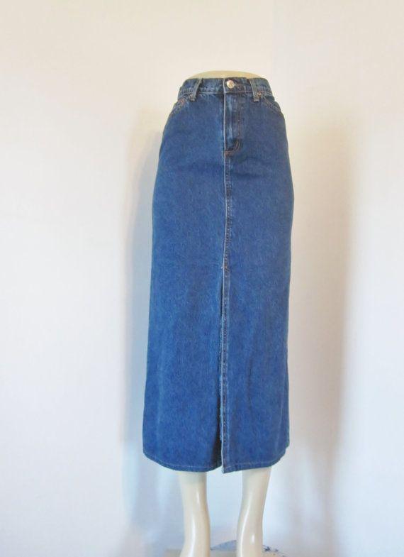 vintage 80s high waisted denim skirt denim maxi skirt