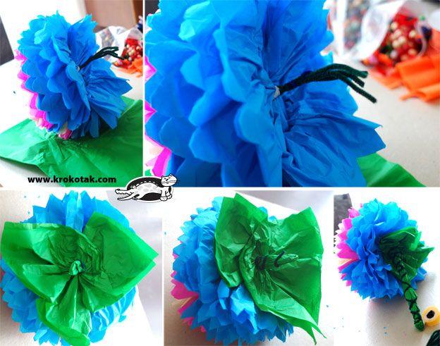 как се правят цветя от тищу хартия