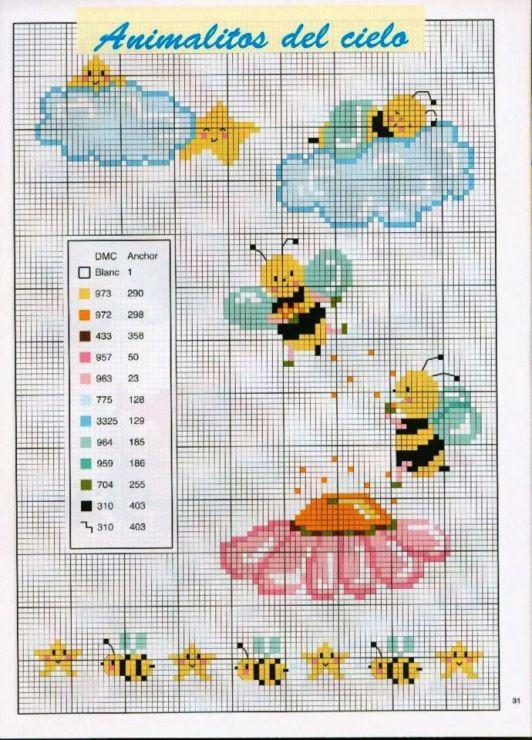 Вышивка крестиком схемы пчелок 79