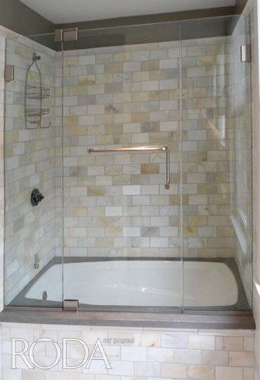 Pin by basco shower doors on recent installations pinterest for 3 panel tub shower doors