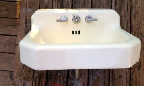 Wall Mount Sink Legs : ... Standard Cast Iron Sink w Wall Mount Legs Handles Faucet eBay