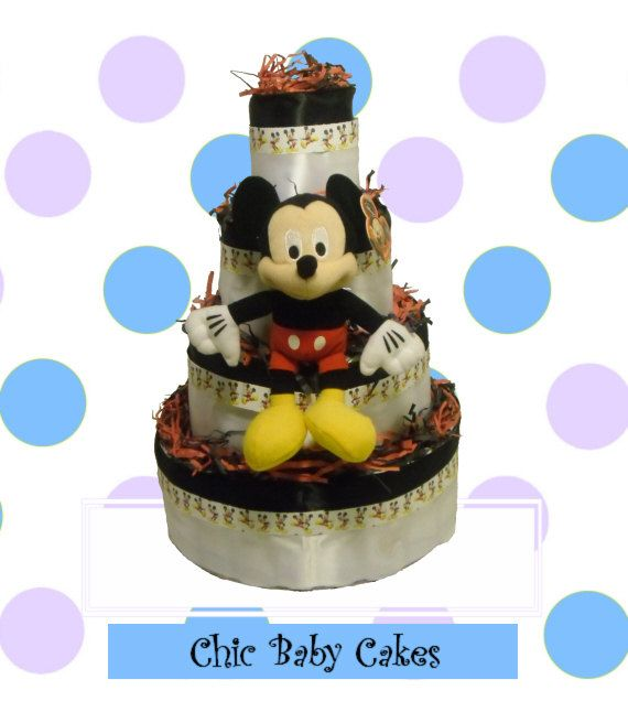 mickey mouse baby shower diaper cake centerpiece by chicbabycakes 52
