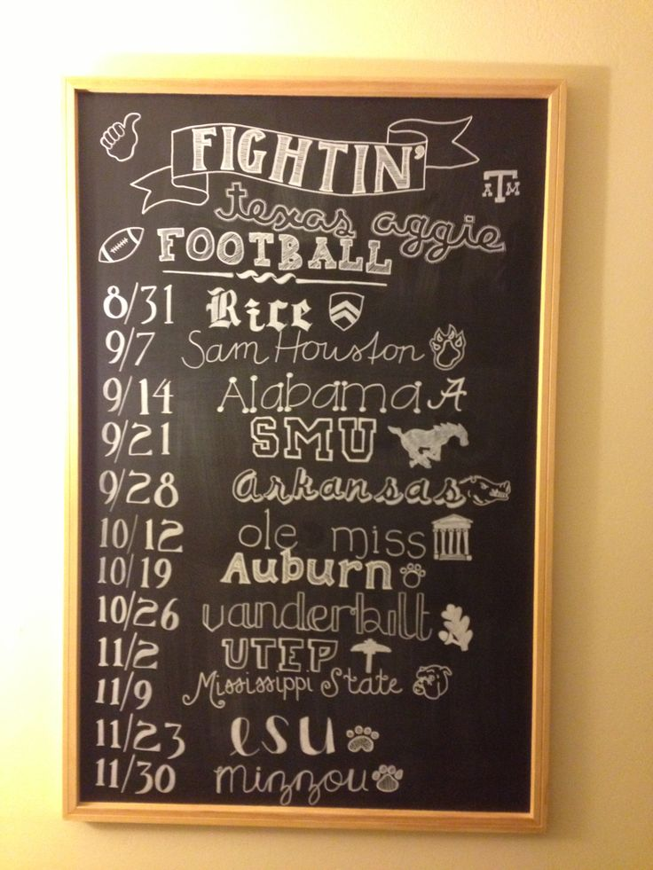Fightin' Texas Aggie Football Schedule on chalkboard