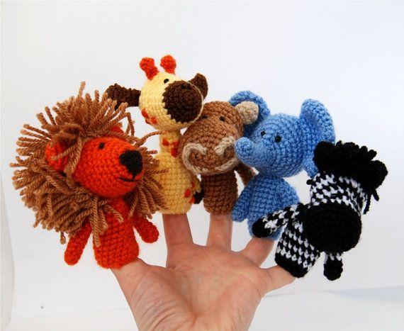 safari finger puppets crocheted lion giraffe elephant by crochAndi, $27.00