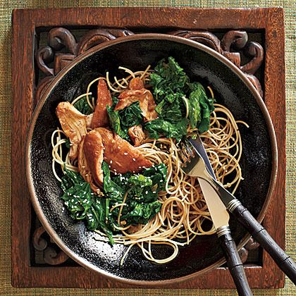 Honey-Wine Braised Chicken Thighs with Mustard Greens by Cooking Light