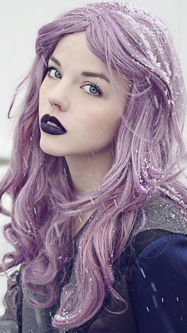 Lavender Hair & Purple Lips hair makeup lavender purple hair long hair hair ideas