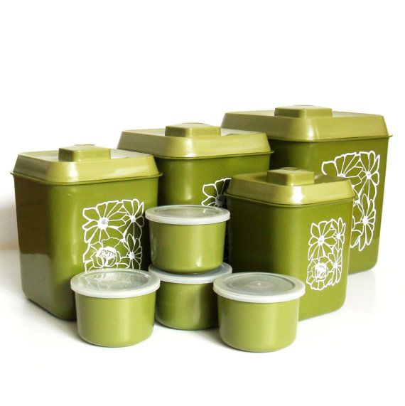 1970s avocado green canister set retro kitchen canisters
