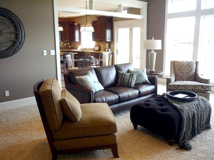 Gray walls brown furniture via traditional living room by for Living room furniture to match grey walls