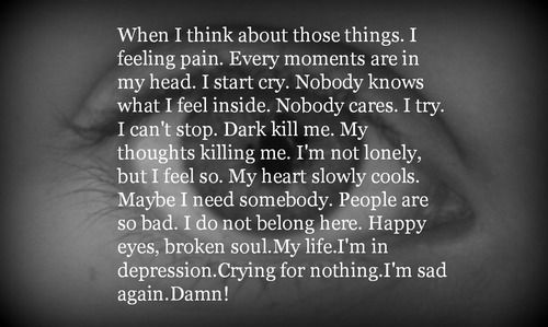 Depression crying pain quote | Words of Life | Pinterest
