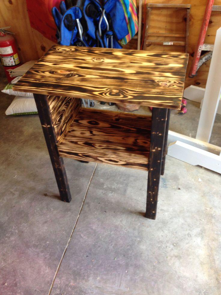 Wood pallets to side end table   Wood burned furniture   Pinterest
