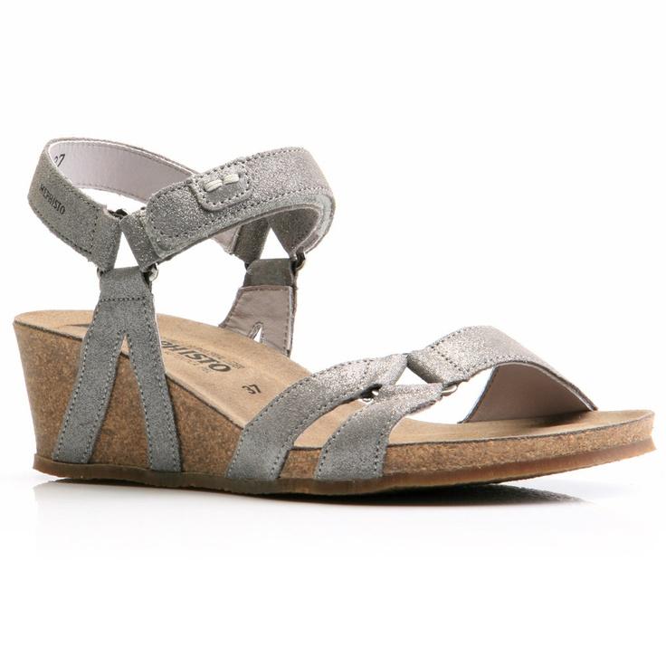 Sandal Wedge | Mephisto Muguet Silver Shimmer